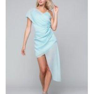 Bebe Asymmetric Draped Dress Aqua 10